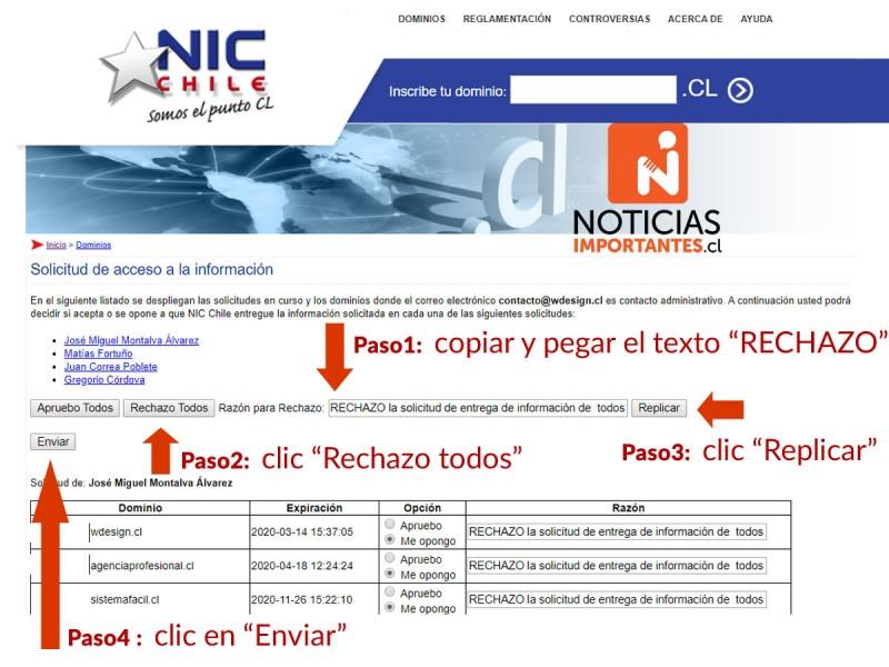 Paso a paso para rechazar la solicitud de NIC.cl - WDesign - Diseño Web Profesional
